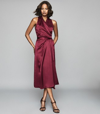 Reiss Moa - Silk Blend Wrap Effect Midi Dress in Burgundy