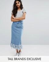 Daisy Street Tall Frayed Hem Denim Midi Skirt