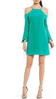 Laundry by Shelli Segal Cold-Shoulder Flutter-Sleeve Dress