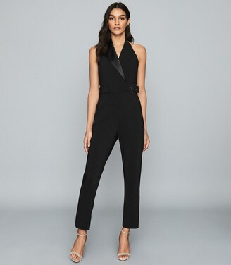 Reiss Belinda - Tux Detail Halterneck Jumpsuit in Black
