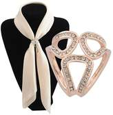 Aibearty Three Rings Rhinestone Scarves Clip Ring Metallic Silk Scarves Clip Accessory