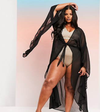 ASOS DESIGN SWIM GLAM curve maxi beach kimono with exaggerated sleeves