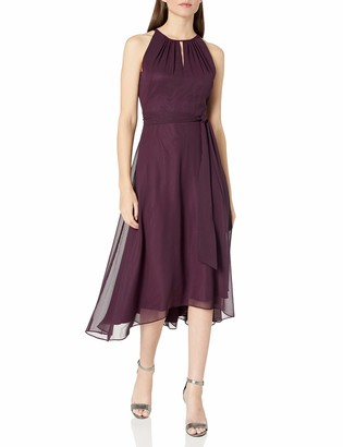 Tahari ASL Women's Hi-Lo Sleeveless Keyhole Dress with Tie Waist