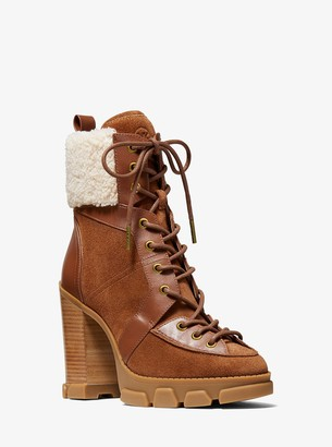MICHAEL Michael Kors Ridley Leather and Sherpa Lace-Up Boot