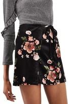 Topshop Women's Floral Wrap Miniskirt