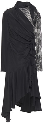 Philosophy di Lorenzo Serafini Asymmetric Lace-paneled Crepe De Chine Dress