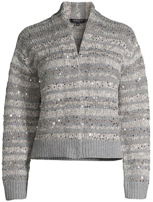 Lafayette 148 New York Hand-Knit Sequin Cardigan