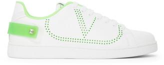Valentino White and Green Garavani Backnet VLogo Sneakers