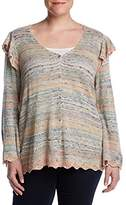 Democracy Women's Plus-Size Open Front Cardigan with Ruffle Sleeve