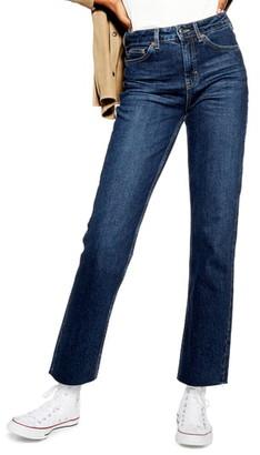 Topshop High Waist Raw Hem Straight Leg Jeans