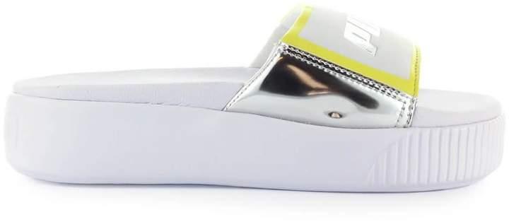 d65e09b86fe63 Trailblazer White Silver Platform Slide