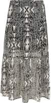 River Island Girls black mono print tiered maxi skirt