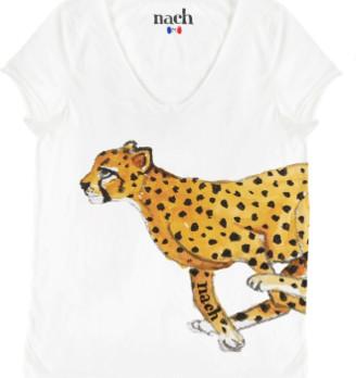 Nach White Cheetah Print T Shirt - small