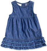 First Impressions Distressed Cotton Denim Ruffle Dress, Baby Girls, Created for Macy's