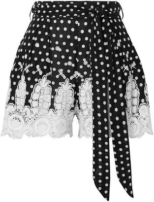 Miguelina Liana Crochet-trimmed Polka-dot Cotton-voile Shorts