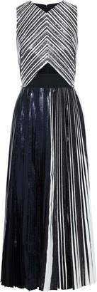 Proenza Schouler Cutout Cady-paneled Pleated Coated Cloque Midi Dress