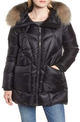 Andrew Marc Genuine Fox Fur Trim Quilted Down Coat