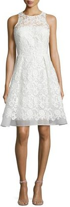 David Meister Sleeveless Fit-and-Flare Lace Dress