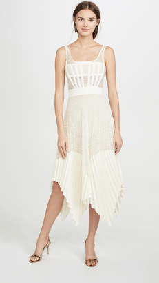 Dion Lee Vein Lace Pleated Corset Dress