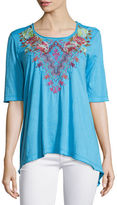 Johnny Was Cecilia Embroidered Trapeze Tee, Plus Size
