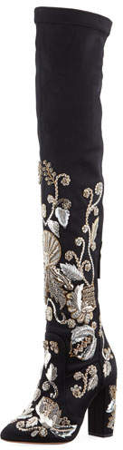 Aquazzura Poison Ivy Embroidered Tall Boot