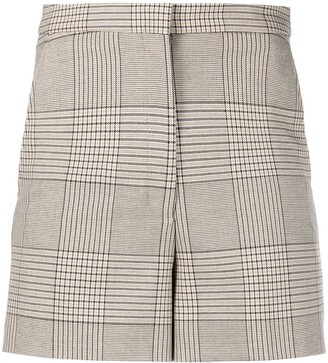REMAIN Mady checked high-rise shorts