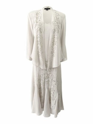 R & M Richards R&M Richards Women's 2 PCE Chiffon Gown with Chunky Bead