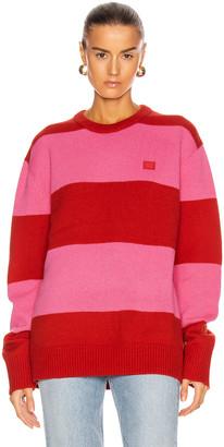 Acne Studios Stripe Sweater in Red & Bubblegum Pink | FWRD
