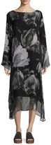 eskandar Double-Layer Printed Chiffon A-Line Dress, Black