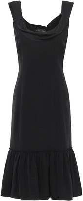 Proenza Schouler Draped Cotton Poplin-paneled Crepe Dress