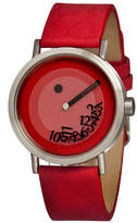 Simplify Unisex The 500 Fallen-Number Red Leather-Band Watch Sim0503