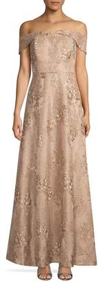 Calvin Klein Floral Jacquard Off-The-Shoulder Gown