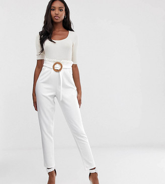 Asos Tall DESIGN Tall paperbag waist trousers with rattan belt-White