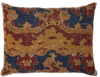 By Walid 19th-century Tapestry Linen Cushion - Blue Multi