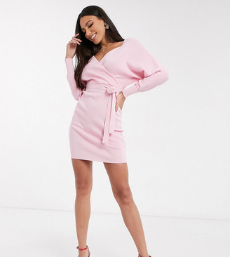 Outrageous Fortune Tall wrap front balloon sleeve knitted midi pencil dress in pink