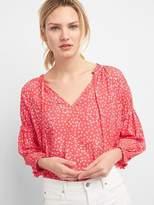 Shirred Long Sleeve Print Blouse