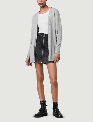AllSaints Afelia cowl-neck cotton and cashmere-blend cardigan