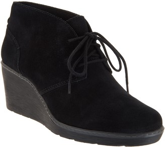 Clarks Collection Suede Lace-Up Wedge Booties - Hazen Charm