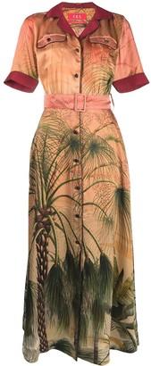 F.R.S For Restless Sleepers Tropical-Print Silk Shirt-Dress
