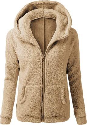 FNKDOR Women Solid Long Sleeve Tops Warm Fluffy Winter Top Hoodie Sweatshirt Ladies Hooded Pullover Jumper Coat(Green S)