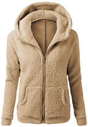 Ifoundyou Women Hoodies Teddy Bear Hooded Drawstring Pullover Fuzzy Oversize Fluffy Sweater Warm Long Sleeve Outerwear