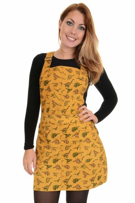 Ladies Run & Fly Gold Mustard Retro Stretch Twill Dinosaur Print Pinafore Dress 8