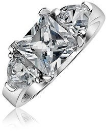 Bling Jewelry 3CT Solitaire Princess Heart CZ Engagement Ring 925 Sterling Silver