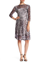 Komarov Long Sleeve Printed Fit & Flare Keyhole Dress