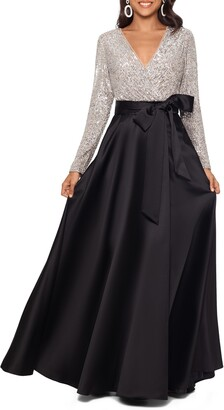 Xscape Evenings Long Sleeve Sequin Ballgown
