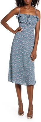 Rowa Floral Print Ruffle Midi Dress
