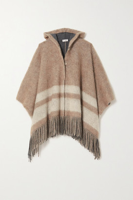 Brunello Cucinelli Hooded Fringed Striped Knitted Poncho - Beige