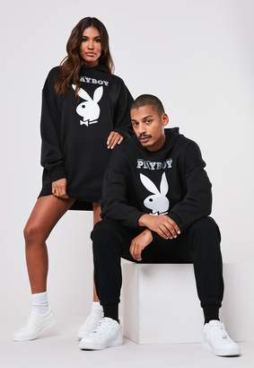 Missguided Playboy X Black Bunny Magazine Print Hoodie