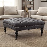 Linon Square Tufted Ottoman in Charcoal Finish