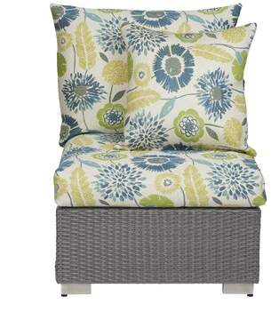 Bronx Ivy Mcmanis Patio Chair with Cushion Ivy Cushion Color: Multi-Blue/Green Floral Sunbelievable Fabric, Frame Color: Smoke Gray